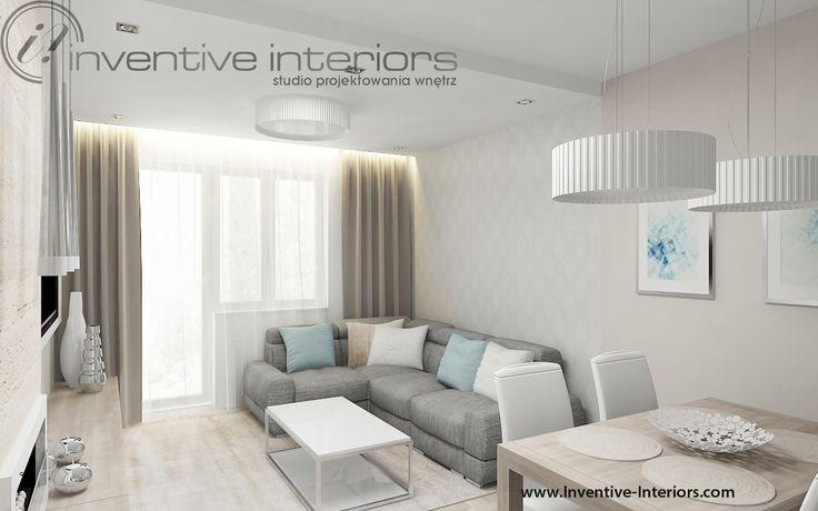 Projekt mieszkania Inventive Interiors - jasny  subtelny salon - beż szarość biel i jasne drewno