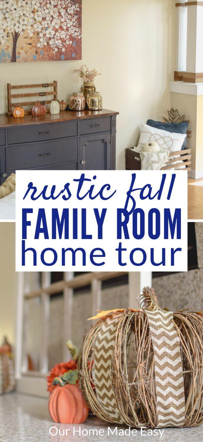 Fall Family Room | OurHomeMadeEasy.com  Click to see the simple and fun way to add fall decor to the house! via @bbukise