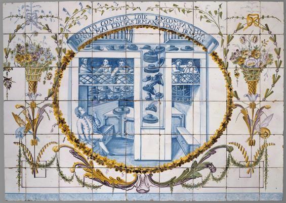 Lisboa | Real Fábrica de / Royal Factory of Louça ao Rato | Museu Nacional do Azulejo (227a-g) / National Azulejo Museum (227a-g) | 1º quartel do século XIX / 1st quarter of the 19th century [José Pessoa, 1995 © DGPC] #Azulejo #AzulejoDoMês #AzulejoOfTheMonth #Trabalho #Labour #Lisboa #Lisbon #MNAz