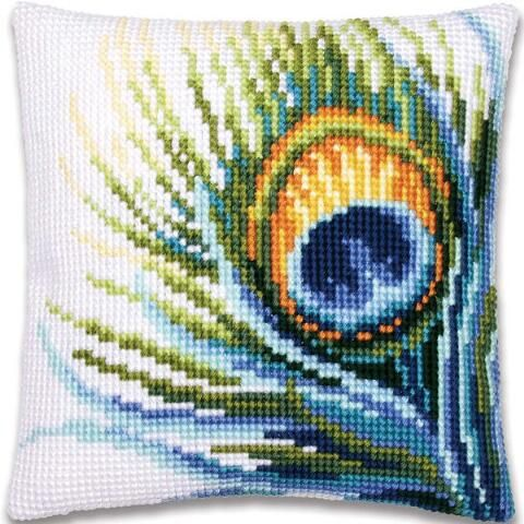Vervaco® Peacock Feather Pillow Cover Needlepoint Kit $34.99
