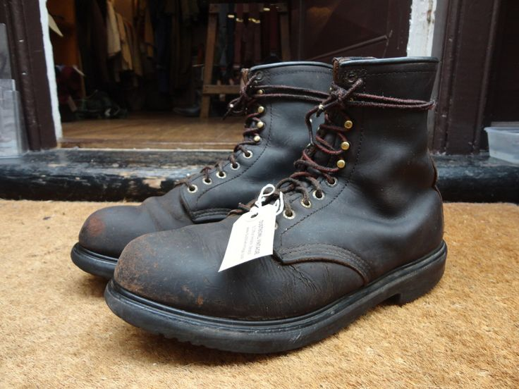 Vintage Red Wing Redwing Dark Brown Rugged Leather Lace Up