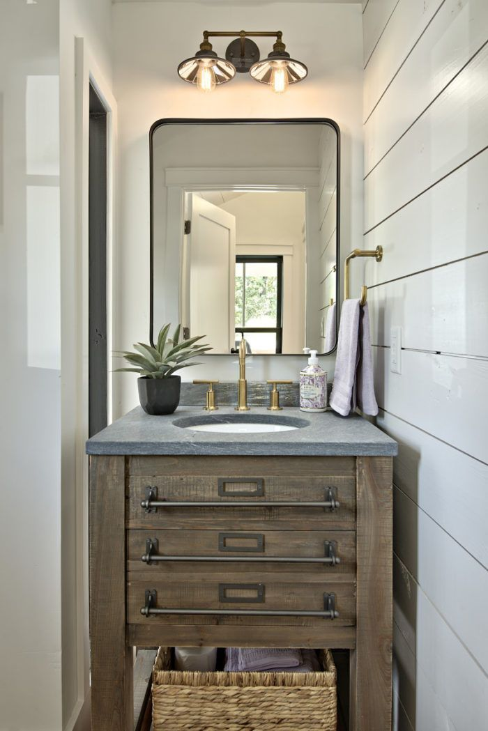 Turning A Tiny Cottage Into A Two Story Modern Farmhouse Modern Farmhouse Powder Room