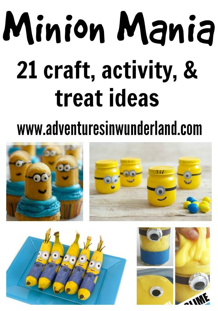It's MINION MANIA!!  21 crafts, activities and treats for your minion loving children.  Who does't love kids activities with their favorite characters?!