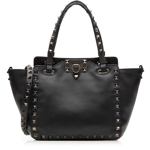 Valentino Rockstud Noir Mini Leather Tote (121,160 INR) ❤ liked on Polyvore featuring bags, handbags, tote bags, black, mini tote bags, leather handbags, leather crossbody, leather tote handbags and valentino crossbody