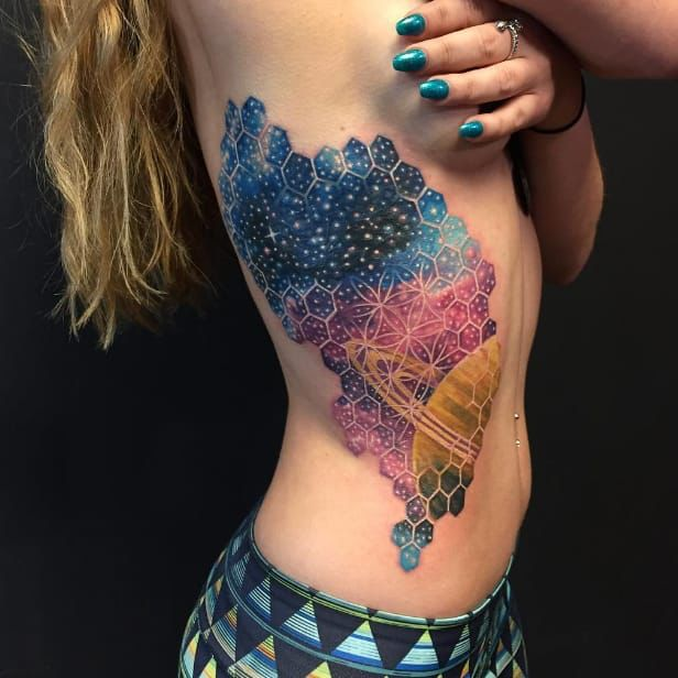 Geometric space tattoo by Nick Friederich via Instagram #NickFriederich #space…
