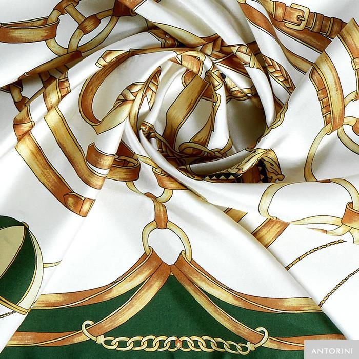 ANTORINI Jockey Silk Scarf in Green