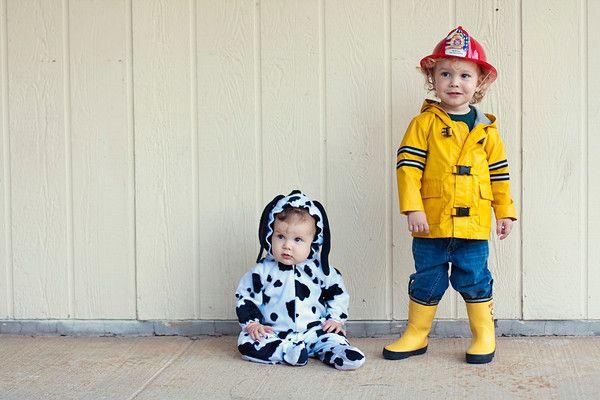 still:living: A Fireman and His Dalmatian. halloween. sibling costume idea