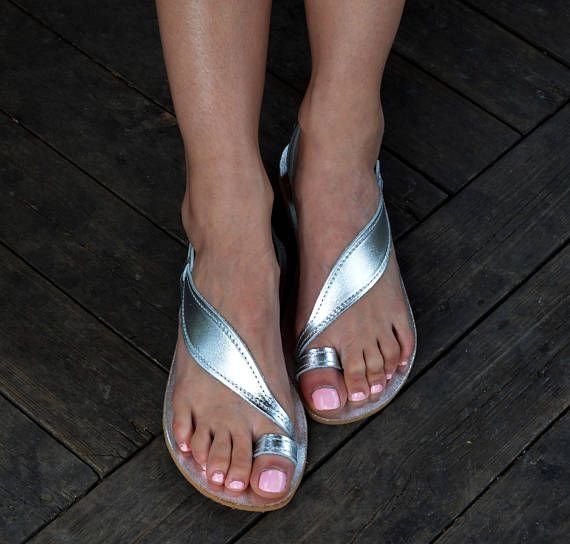 Silver Sandals Premium Leather Silver Leaf Sandals Silver