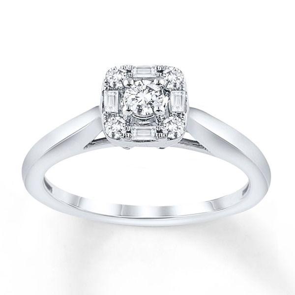 Diamond Engagement Ring 1 4 Carat Tw 10k White Gold In 2020 Shop Engagement Rings Diamond Engagement Rings Diamond Engagement