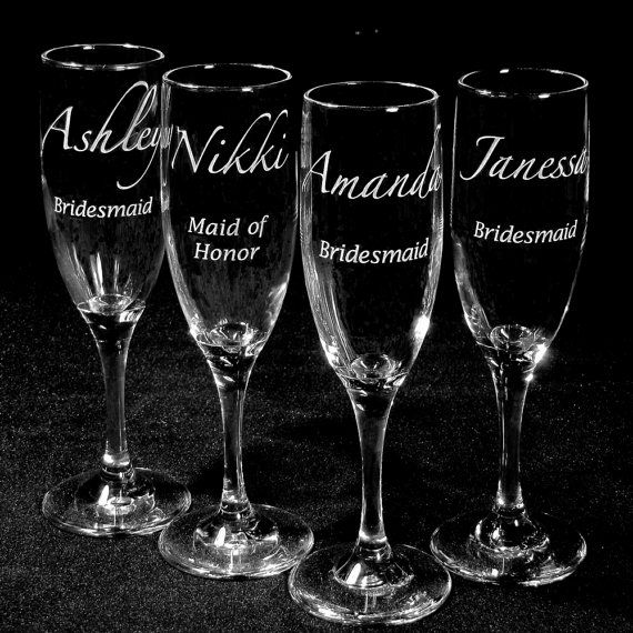 Bridesmaid Gifts Champagne Flutes Engraved by bradgoodell on Etsy, $35.00
