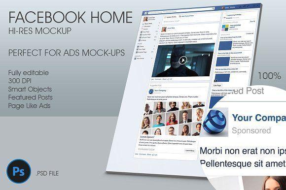 Facebook Home Hi-Res Mockup by 8Link on @creativemarket