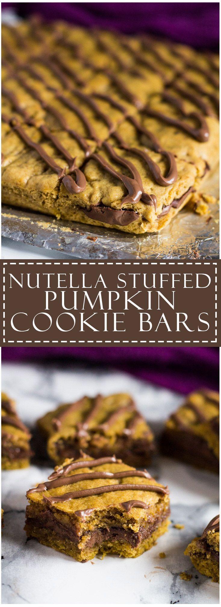 Nutella Stuffed Pumpkin Cookie Bars | marshasbakingaddiction.com…