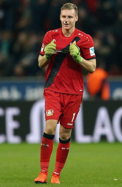 Goalkeeper Bernd Leno of Leverkusen reacts during the Bundesliga match between Bayer 04 Leverkusen and Werder Bremen at BayArena on March 10, 2017 in Leverkusen, Germany.