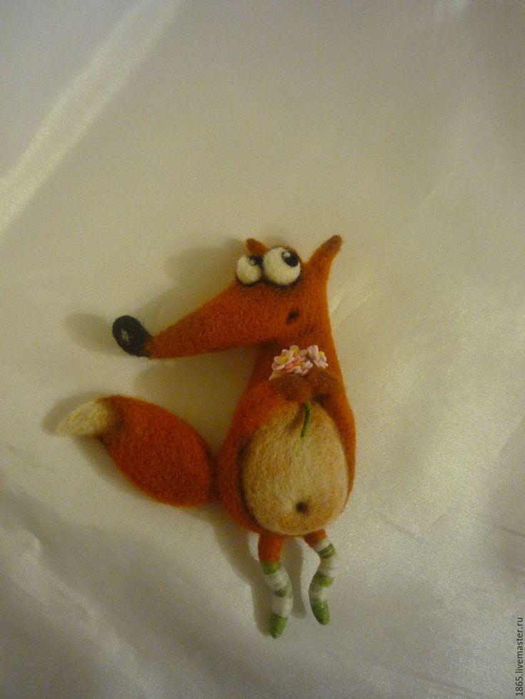 """Купить Брошь """" Лисица"""" - рыжий, лиса из шерсти, лиса, брошь ручной работы"""