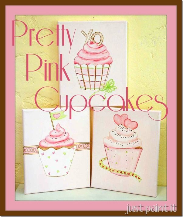 Best 25 cupcake painting ideas on pinterest kids for What kind of paint to use on kitchen cabinets for rainbow canvas wall art