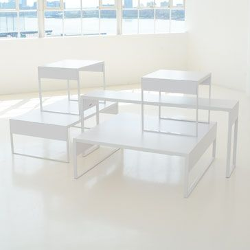 Salon Table Collection White   All White Powder Coat And White Laminate  Coffee Or Display Tables