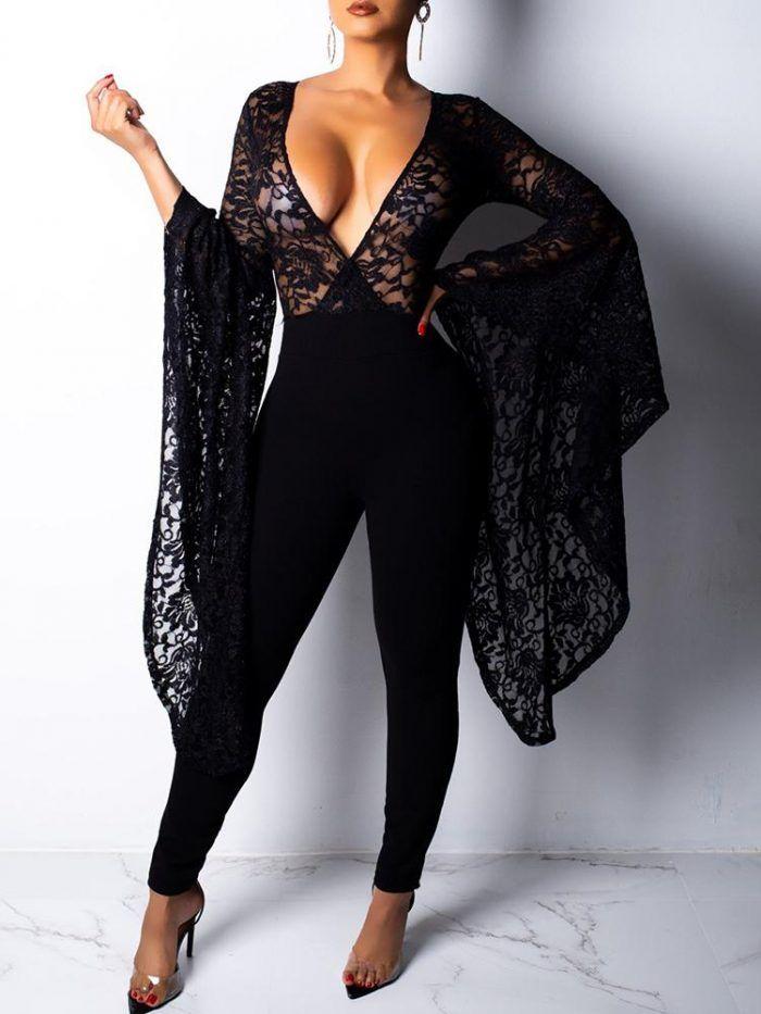 New Women Stylish Long Sleeves Deep V Neck Mesh Patchwork Bodycon Club Jumpsuit