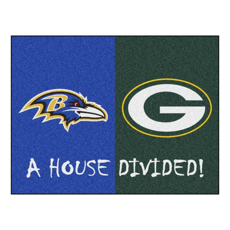 NFL Ravens/Packers Blue House Divided 2 ft. 10 in. x 3 ft. 9 in. Accent Rug, Blue/Green