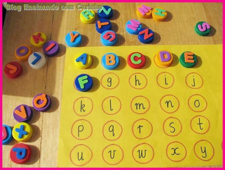 Ensinando com Carinho: Alfabeto com tampinhas de garrafa