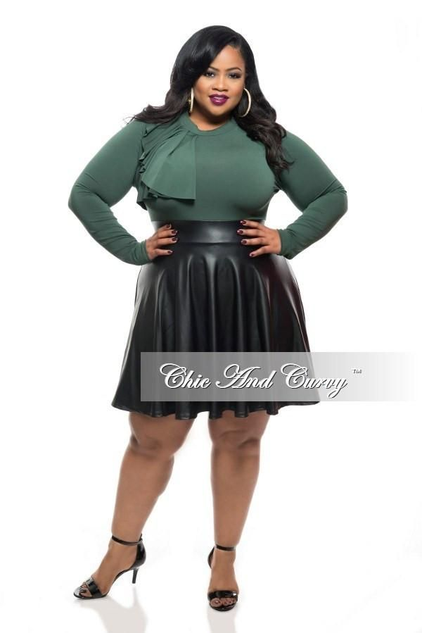 New Plus Size Skater Dress with Side Ruffle Top, Back Cutout, and Liqu – Chic And Curvy