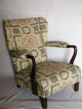 Image of chair  - fabric designed by Vanessa Bell