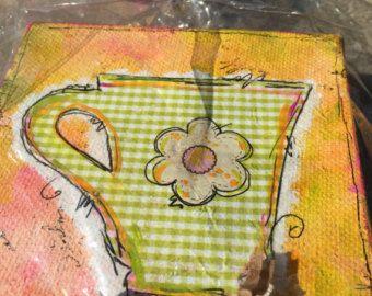 : 2 amarillo caprichoso mixta Original Vestido de por GlimmerbugArt