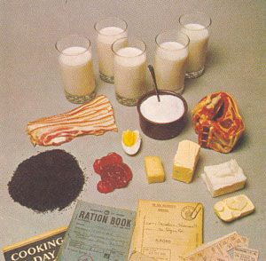 Food ration per week for one person in Britain during WW2