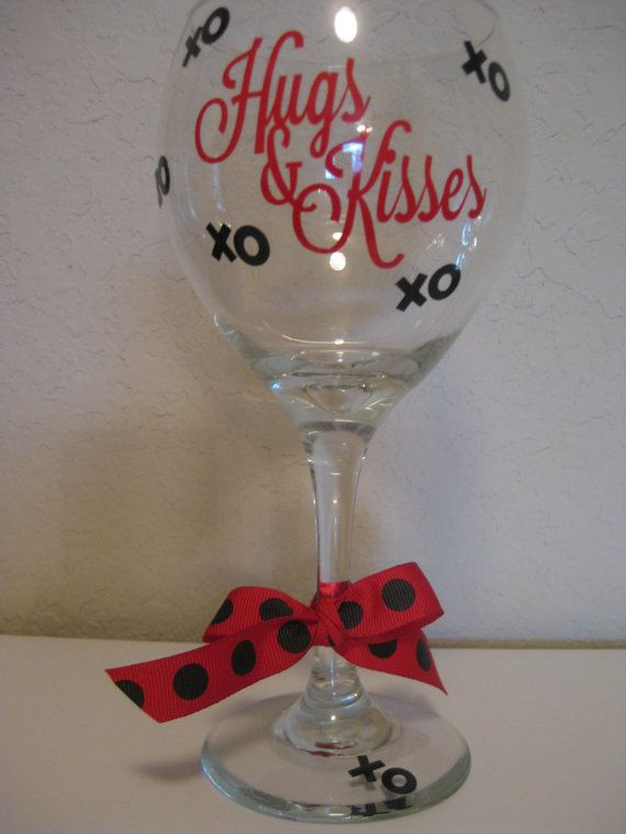 wine glass with vinyl saying by thesaltykiss on etsy 1000 - Valentine Wine Glasses