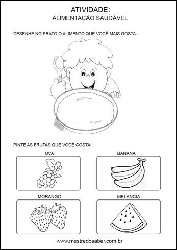 Projeto alimentação saudável educação infantil - Desenhe