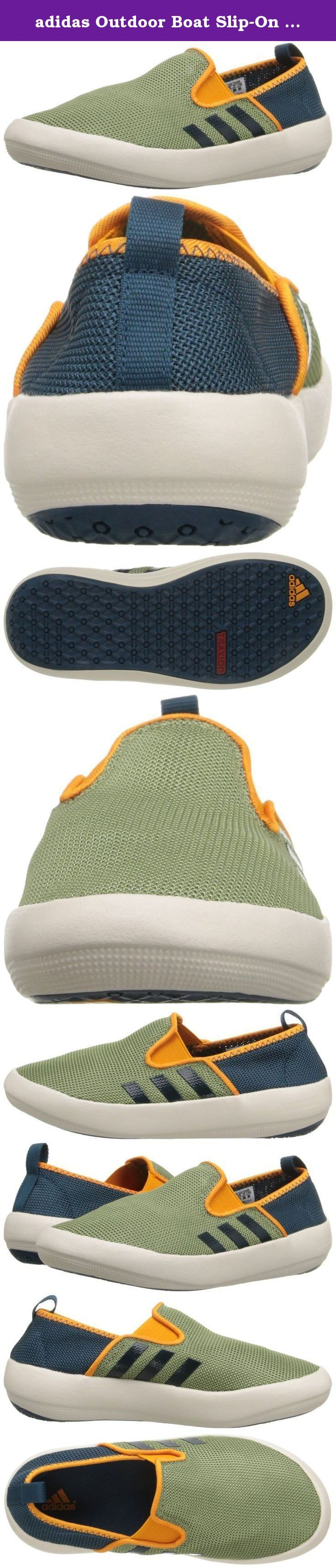adidas Outdoor Boat Slip-On Water Shoe (Little Kid/Big Kid), Shift Olive/Mineral/Equipment Orange, 13.5 M US Little Kid. Half ballerina flat, half boat shoe with a girly summer vibe. This easy slip-on has an elastic strap across the vamp, breathable mesh upper and grippy traxion outsole.