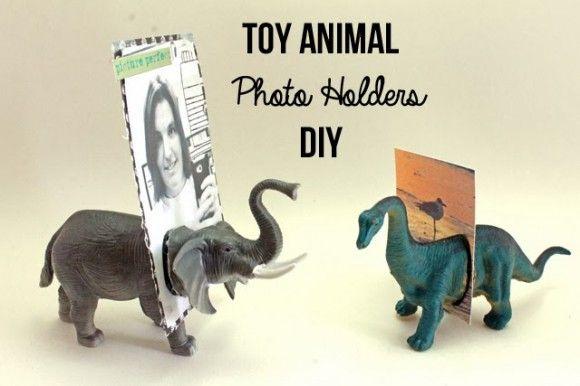 toy Animal Photo Holders - dollar store craft