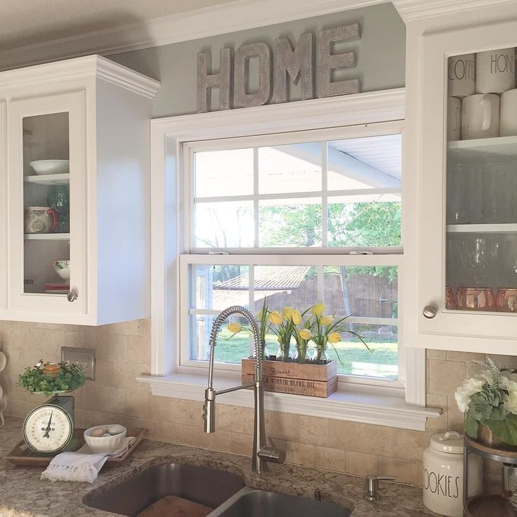 I Like The Raised Window And The Glass Cabinets Around It Over The Kitchen Sink Decorkitchen Window Decorwhite