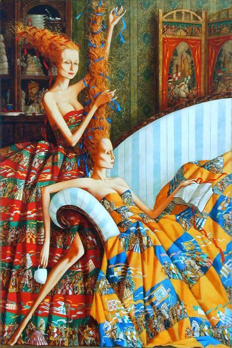 Читающие, спящие, пьющие чай, кофе, мечтающие, в общем, очень занятые женщины Романа Заслонова Haute Coiffure - Roman Zaslonov