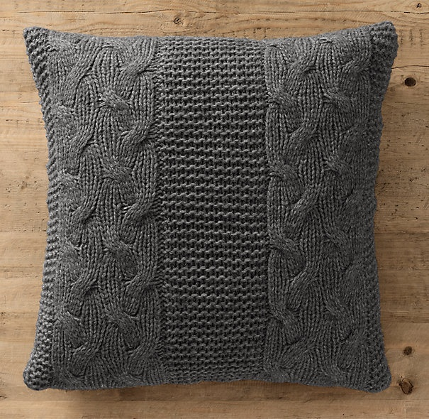 Italian Wool & Alpaca Cable Knit Pillow Cover Charcoal