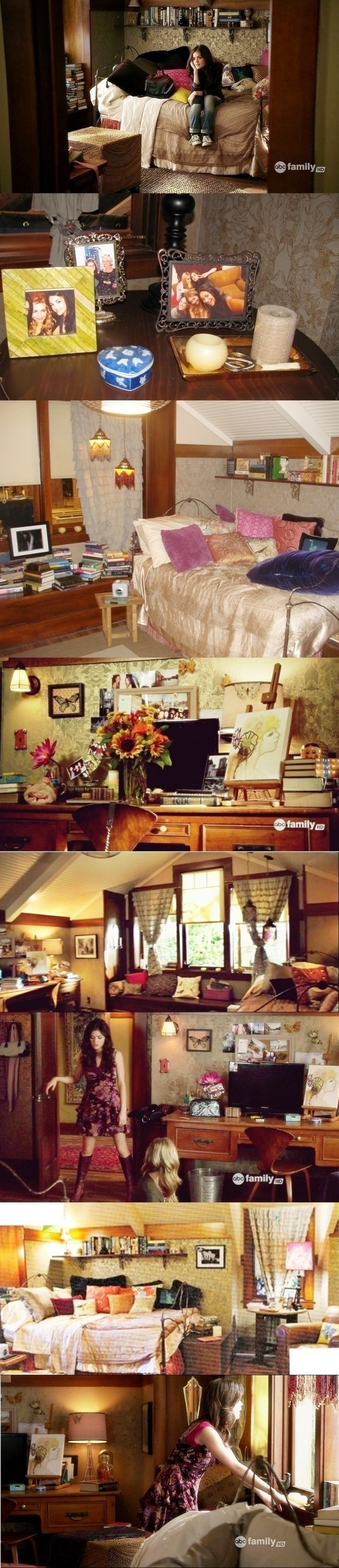 Aria's Room in Pretty Little Liars, I love how layered and and interesting this room is. So full of curious items.