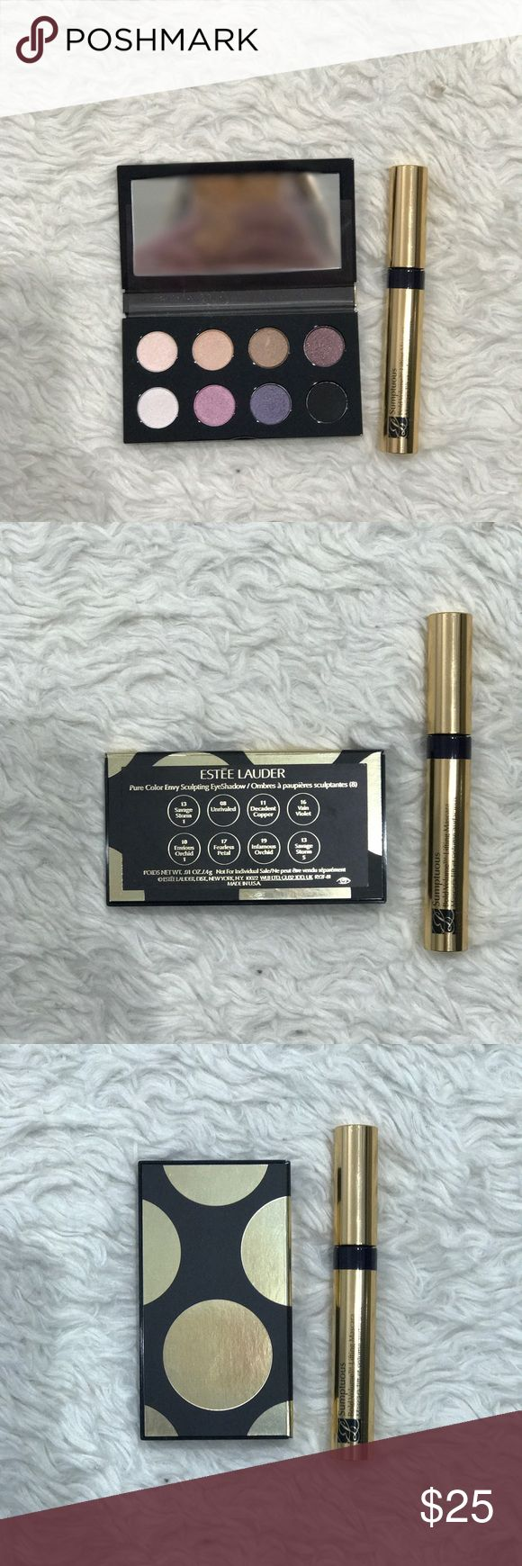 Esteé Lauder Eyeshadow pallet & mascara combo Beautiful colors by Esteé Lauder combined with some of their amazing sumptuous mascara.   • Bold Volume • Lifting Mascara Estee Lauder Makeup Eyeshadow