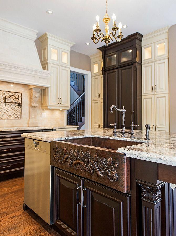 SoLuna Copper Kitchen Sink Installation Photos: Two Tone Leaf Banner Design  Copper Farmhouse Kitchen Sink In Our Customer Romayneu0027s Home.