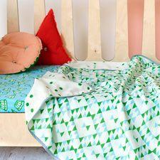 Soda   stitch baby blanket swaddle cotton blue green