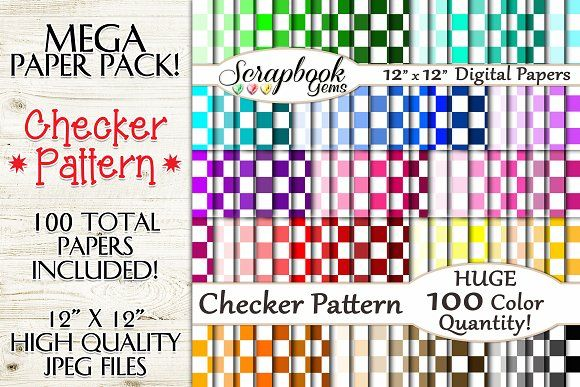 100 Colors Checker Pattern Papers  @creativework247