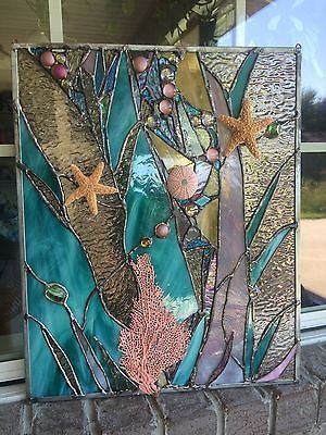 Stained-Glass-Window-Sea-Shell-Starfish-Coral-Suncatcher-Ocean-Panel-OOAK