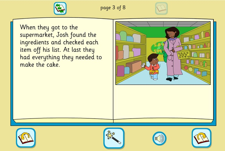 Josh's Cake Story Book: An interactive story using a familiar setting, with a simple text, colourful illustrations and full sound support.