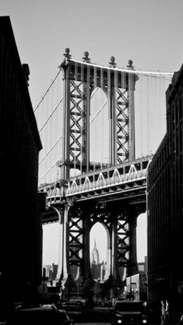 Manhattan Bridge New York Black And White #iPhone #5s #wallpaper