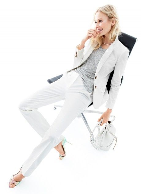 "Gayle On: Summer Office Style - LIGHTEN UP  ""A white suit in a lightweight fabric should be in everyone's work wardrobe. And it easily works as separates on the weekend."""