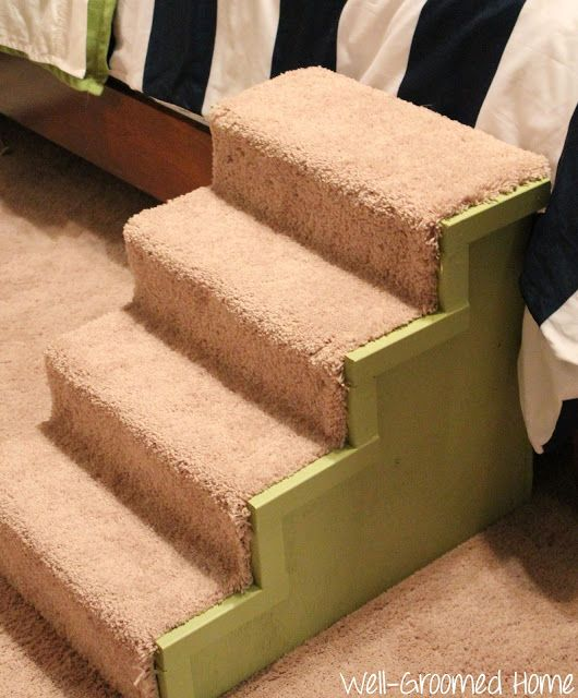 DIY dog steps made using a carpet remnant.