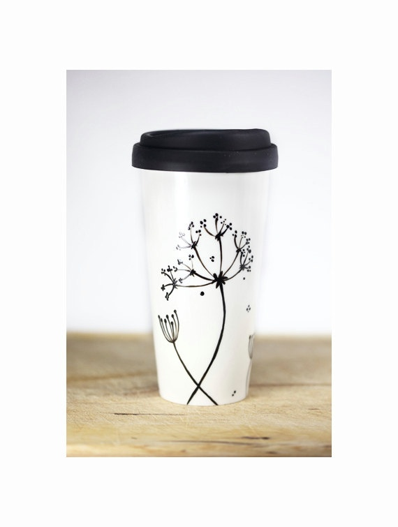Ceramic Coffee Mug with silicone black lid, is this awesome or what for those coming cold days/nights. A fabulous gift idea too!!