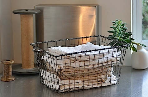 Containing the little things, this would be perfect for rags (how is I actually that that big wooden spool in the background - awesome): Kitchen Laundry Room, Modern Laundry Rooms, Kitchen Towels, Laundry Room Mud, Idea A Basket, Hand Towels, Downstairs Kitchen Laundry