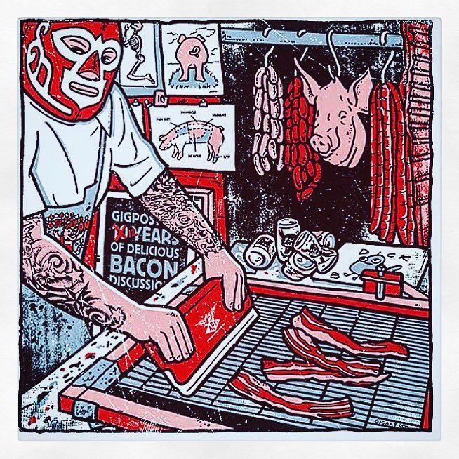 AWESME SCREEN PRNT by GIGART @gigartsf #gigartsf #diyprint #diyscreenprinting #diykit #screenprinting #printshop #tshirtshop #postershop #posterprint #silkscreen #wrestler #mexicanwrestling #diyproject #etsyfinds #ilovebacon #porky #gigposter #diyprintshop