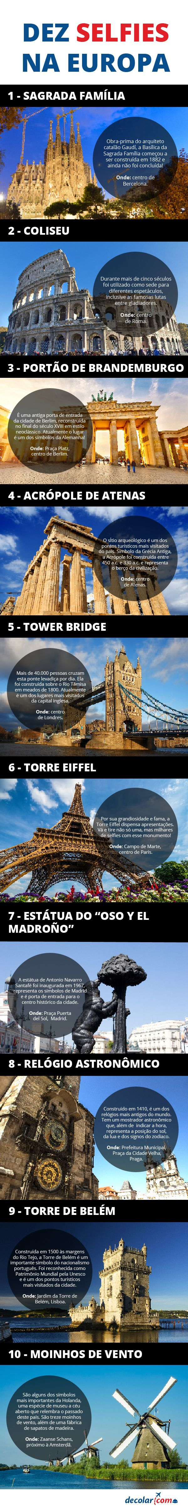 A nova moda entre os viajantes são os #selfies para publicar nas redes sociais e fazer inveja nos amigos. Pensando nisso, elegemos 10 monumentos na #Europa que merecem vários selfies. Confira:
