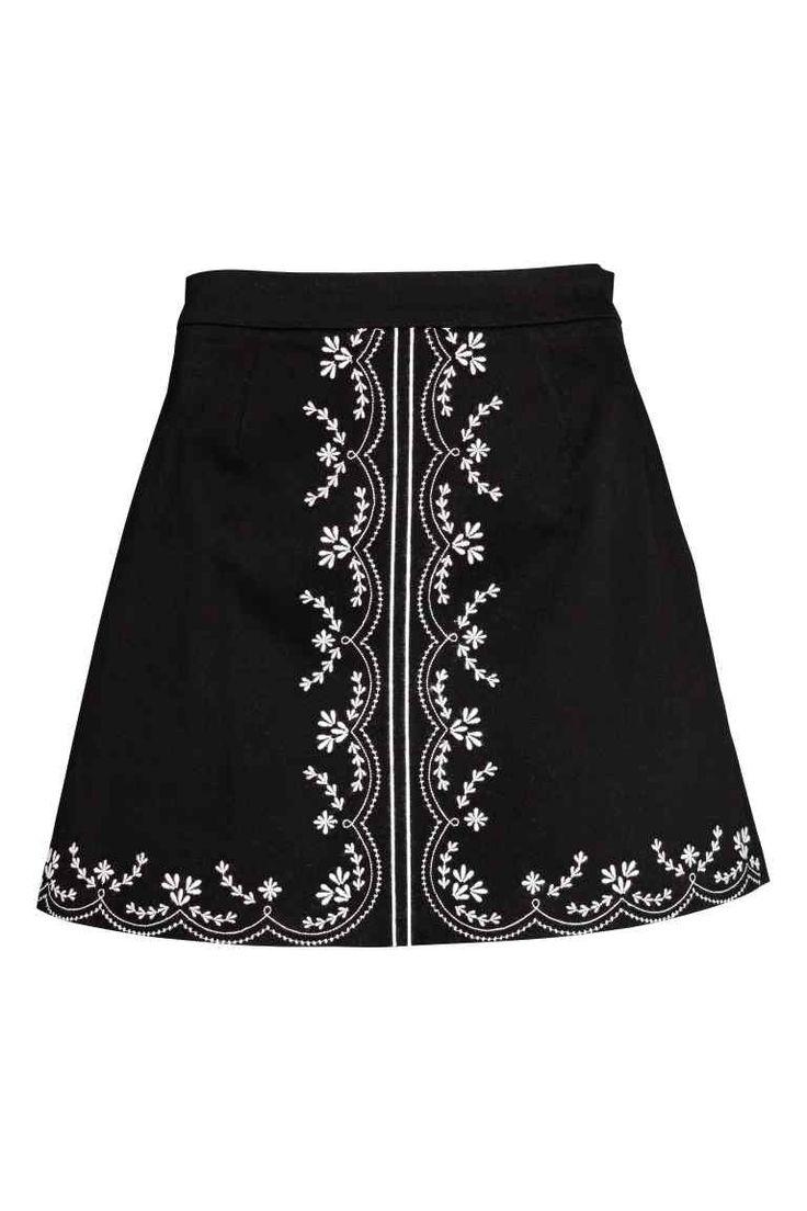 Katoenen rok met borduursel - Zwart - DAMES | H&M NL