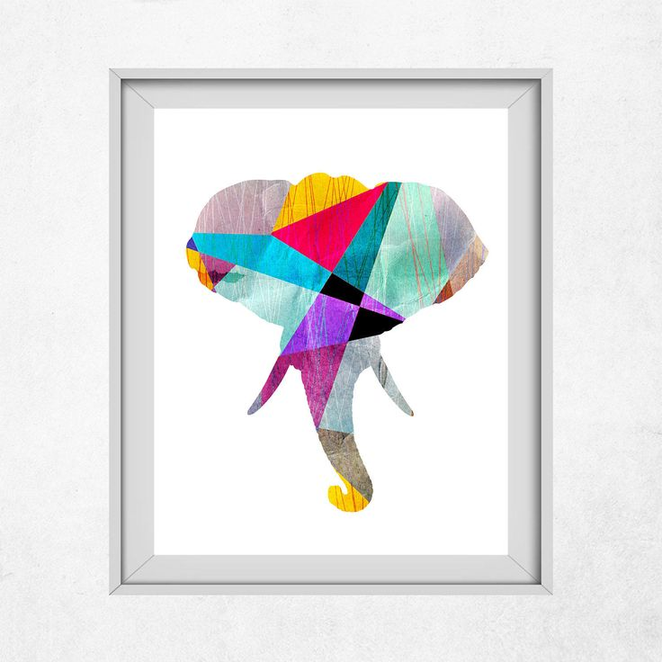 Elephant Head Wall Decor, Elephant Head Print, Elephant Head Art, Elephant Head Nursery, Geometric Elephant Head, Printables, Printable Art by DigitalSpot on Etsy